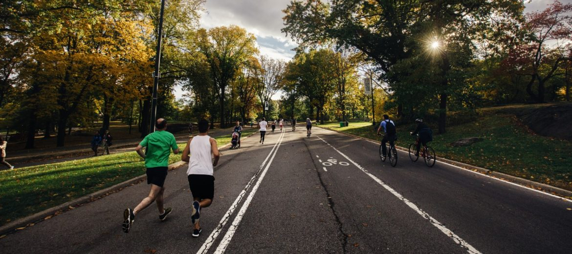 Active & Healthy People Running & Biking Outside